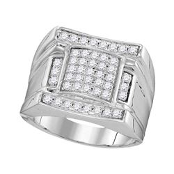 Mens Diamond Arched Square Cluster Ring 1.00 Cttw 10kt White Gold