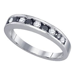 Round Black Color Enhanced Diamond Band Ring 1/2 Cttw 10kt White Gold