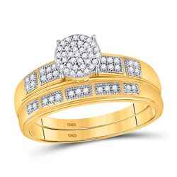 Diamond Bridal Wedding Engagement Ring Band Set 1/5 Cttw 10kt Yellow Gold