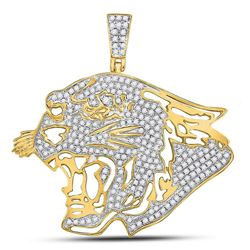 Mens Diamond Panther Head Charm Pendant 5/8 Cttw 10kt Yellow Gold