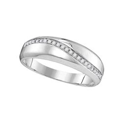 Diamond Single Row Crossover Wedding Band 1/6 Cttw 10kt White Gold