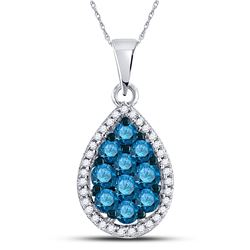 Round Blue Color Enhanced Diamond Teardrop Cluster Pendant 3/4 Cttw 10kt White Gold
