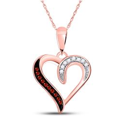 Round Red Color Enhanced Diamond Heart Pendant 1/20 Cttw 10kt Rose Gold