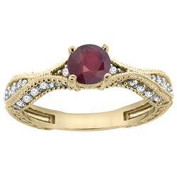 0.85 CTW Ruby & Diamond Ring 14K Yellow Gold - REF-68K3W