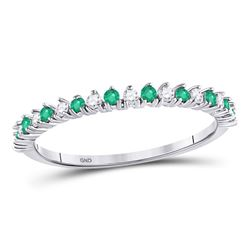 Round Emerald Diamond Single Row Stackable Band Ring 1/5 Cttw 10kt White Gold