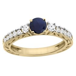 1.40 CTW Blue Sapphire & Diamond Ring 14K Yellow Gold - REF-142R7H