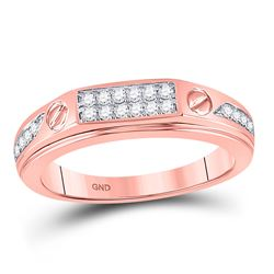 Mens Diamond Screw Band Ring 1/5 Cttw 10kt Rose Gold