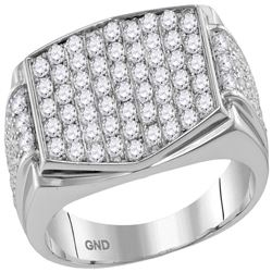 Mens Round Pave-set Diamond Rectangle Cluster Ring 2.00 Cttw 10kt White Gold