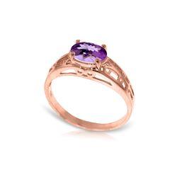 Genuine 1.15 ctw Amethyst Ring 14KT Rose Gold - REF-32M3T