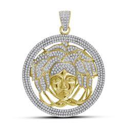 Mens Diamond Medusa Gorgon Charm Pendant 2-1/5 Cttw 10kt Yellow Gold