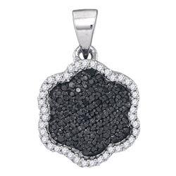 Round Black Color Enhanced Diamond Hexagon Cluster Pendant 1/4 Cttw 10kt White Gold