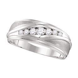 Mens Diamond Wedding Band Ring 3/8 Cttw 10kt White Gold