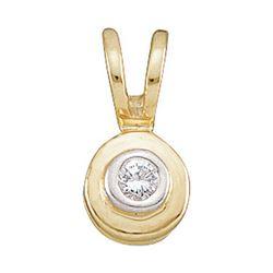 Diamond Solitaire Circle Pendant .03 Cttw 10kt Yellow Gold