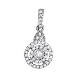 Diamond Cluster Pendant 1/5 Cttw 10kt White Gold