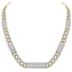 Mens Diamond Cuban Link Rectangle Ice Necklace 24-1/2 Cttw 10kt Yellow Gold