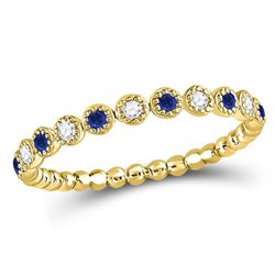 Round Blue Sapphire Diamond Beaded Dot Stackable Band Ring 1/6 Cttw 10kt Yellow Gold