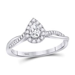 Pear Diamond Solitaire Bridal Wedding Engagement Ring 1/3 Cttw 14kt White Gold