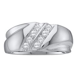 Mens Diamond 2-Row Wedding Band Ring 1/4 Cttw 10kt White Gold
