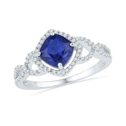 Lab-Created Blue Sapphire Solitaire Diamond Accent Ring 1.00 Cttw 10kt White Gold