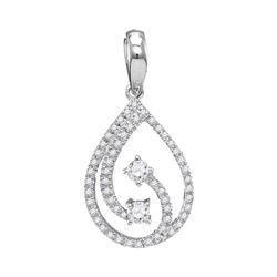 Diamond 2-stone Hearts Together Teardrop Pendant 1/5 Cttw 10kt White Gold