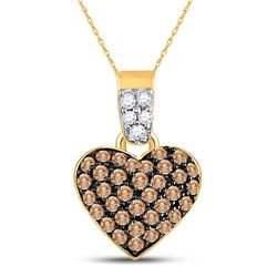 Brown Round Cluster Diamond Heart Pendant 3/8 Cttw 10k Yellow Gold