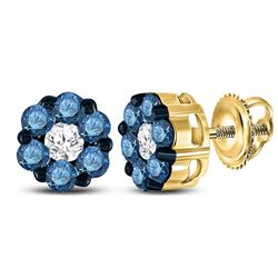 Round Blue Color Enhanced Diamond Cluster Earrings 1.00 Cttw 10kt Yellow Gold