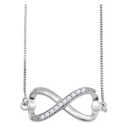 Diamond Infinity Pendant Necklace 1/10 Cttw 10kt White Gold