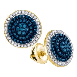 Round Blue Color Enhanced Diamond Concentric Cluster Earrings 1/2 Cttw 10kt Yellow Gold