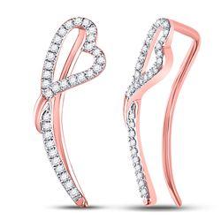 Diamond Heart Climber Earrings 1/5 Cttw 10kt Rose Gold