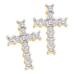 Diamond Roman Cross Religious Stud Earrings 1/10 Cttw 10kt Yellow Gold