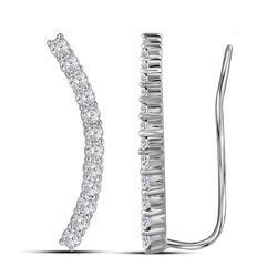 Diamond Climber Earrings 3/4 Cttw 14kt White Gold