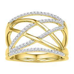 Diamond Crisscross Crossover Band Ring 1/3 Cttw 10kt Yellow Gold