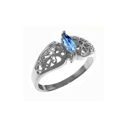 Genuine 0.20 CTW Blue Topaz Ring 14KT White Gold - REF-47M2T
