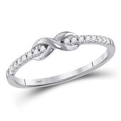 Diamond Infinity Knot Stackable Ring 1/10 Cttw 10kt White Gold