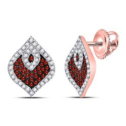 Round Red Color Enhanced Diamond Stud Cluster Spade Earrings 3/8 Cttw 10kt Rose Gold
