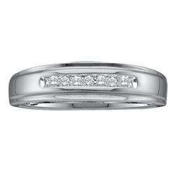 Mens Diamond Channel-set Wedding Anniversary Band Ring 1/12 Cttw 14kt White Gold