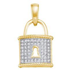 Diamond Key Lock Dangle Pendant 1/8 Cttw 10kt Yellow Gold