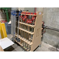 WOODEN MOBILE A-FRAME CART WITH ASSORTED WOOD CLAMPS