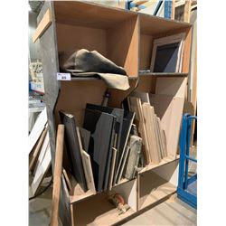 2 LARGE BLACK SHELVING UNIT WITH CONTENTS