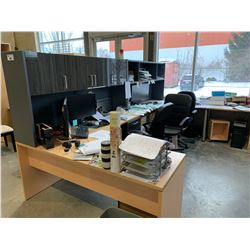 CONTENTS OF OFFICE INCLUDING 2 L SHAPED DESKS, RECEPTION COUNTER, 3 BOOK CASES, 2 CHERRY COMBO