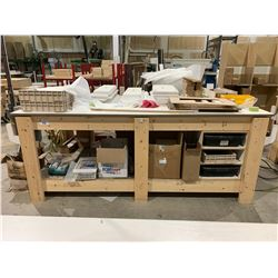 "29""X96""X38"" HEAVY DUTY WOODEN WORK BENCH WITH CONTENTS"