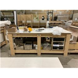 """29""""X96""""X38"""" HEAVY DUTY WOODEN WORK BENCH WITH CONTENTS"""