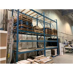 2 BAY PALLET RACKING SYSTEM WITH 3 UPRIGHTS & 16 CROSSBARS APPROX 20FT WITH CONTENTS