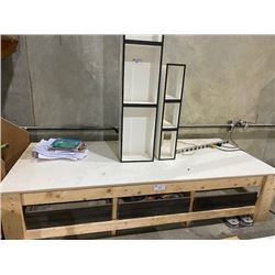 """41""""X96""""X23"""" HEAVY DUTY WOODEN WORK BENCH WITH WHITE WOODEN BENCH"""