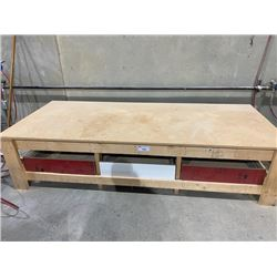 41 X96 X23  HEAVY DUTY WOODEN WORK BENCH WITH WHITE WOODEN BENCH