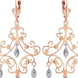 Genuine 0.04 ctw Diamond Anniversary Earrings 14KT Rose Gold - REF-64Z6N