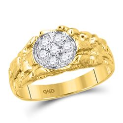 Mens Diamond Cluster Nugget Band Ring 1/4 Cttw 10kt Yellow Gold