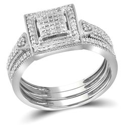 Diamond Square 3-Piece Bridal Wedding Engagement Ring Band Set 1/3 Cttw 10kt White Gold