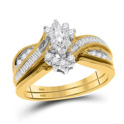 Marquise Diamond Solitaire Bridal Wedding Engagement Ring 1/3 Cttw 14kt Yellow Gold