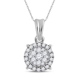 Diamond Halo Cluster Pendant 1/4 Cttw 14kt White Gold